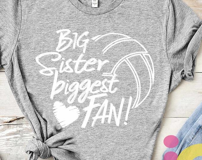 Volleyball SVG, Big Sister Biggest Fan shirt design, volleyball cut file, sis, sister shirt design, svg, eps, dxf, black sublimation png