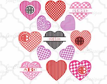 Pattern Valentine svg  - Monogram Frames, Heart svg Split Chevron Svg, Eps, Dxf, Png Silhouette Cricut iron on design cut file images