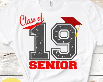 Distressed Class of 2019, Graduation, Grunge Senior High School Graduation, Graduate Graduating Grad Cap Svg Eps Dxf Png Silhouette Cricut