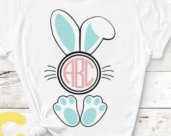 Bunny Ears Feet Easter Svg, Monogram Frame svg, Ear Easter Shirt Design, Birthday Child SVG Bunny Ear Vector, Cricut, Silhouette, Cut File
