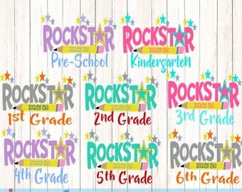 Rock Star Rock into Prek-6th Svg Back to School Shirt design, Student Teacher SVG EPS DXF Png Silhouette Studio & Cricut Vector Art Cut File