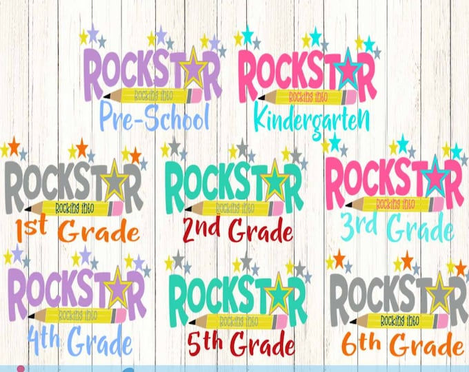 Rock Star Rock into Prek-6th Svg Back to School Shirt design, Student Teacher SVG EPS DXF Png Silhouette Studio & Cricut Vector Art Cut File