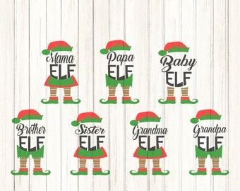 Elf Family SVG, Papa, Mama, Baby,Grandma, Grandpa, Sister, Brother Elf Legs, Christmas SVG, Eps, Dxf, Printable clipart, Silhouette Cricut