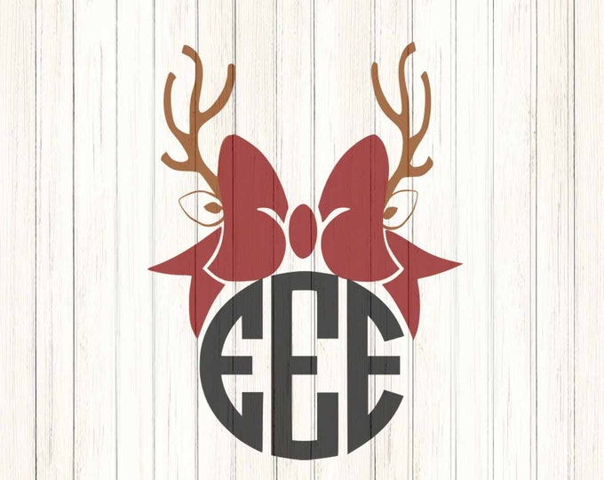 Reindeer SVG Antler Bow svg Chrsitmas monogram Frames SVG EPS Png Dxf, Cricut, Silhouette Studio, Digital image Cut Files Instant Download