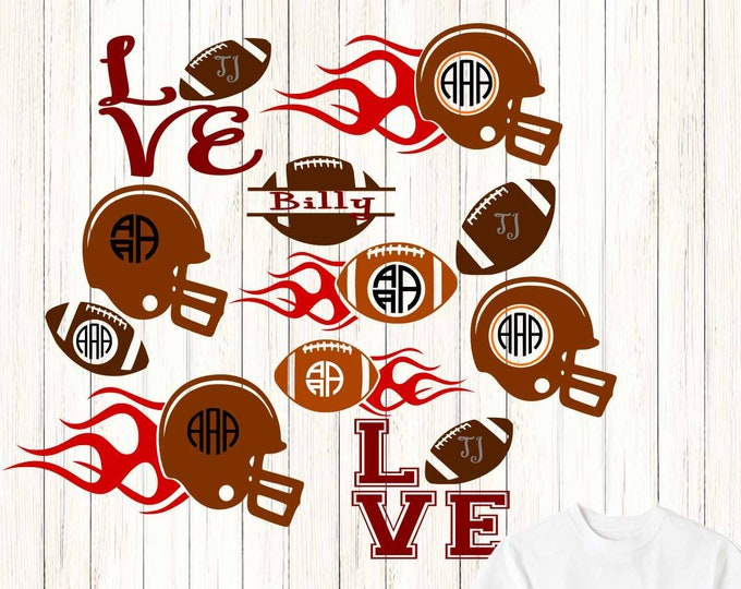 Football Monogram SVG, dxf, jpg, png Vector Cut File, Football Monogram Frames, Helmet Svg Cut File Silhouette, Cricut SVG, Eps, Png, DXF