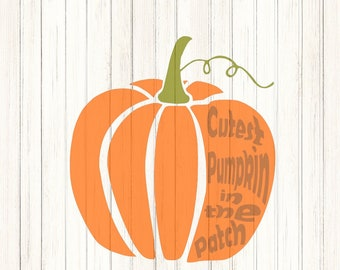Cutest Pumpkin in the Patch Halloween Designs, SVG Files, Vector Art, Cricut Design Space, Silhouette, Digital Cut Files Instant Download