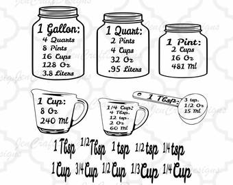 Measurements SVG Kitchen Conversion SVG, Measuring Cups, Measuring Spoons, Vector Digital Cut File Svg, eps, dxf, Png  Cricut, Silhouette