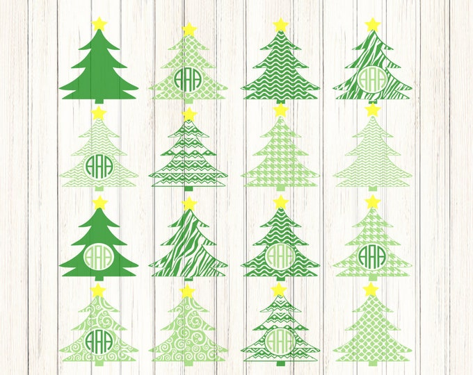 Christmas Tree svg Monogram frames svg, SVG EPS Png DXF, Cricut Design Space, Silhouette Studio, Digital Cut Files Printable