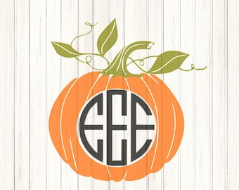 Pumpkin SVG Monogram Frame SVG, Halloween Designs, SVG Files, Vector Art, Cricut Design Space, Silhouette Studio, Digital Cut   Files