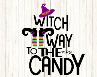 Witch Way to the Candy SVG Witch Shoes SVG Hat  Trick or treat Halloween Svg Legs, october fall svg Cut File svg, dxf, png Silhouette Cricut
