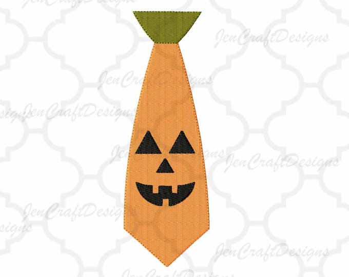 Pumpkin Face Halloween Tie Embroidery Design, Jack o lantern face, halloween Pes, fall autumn digital file in PES, EXP, VIP, Hus, Xxx, Jef