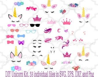 Unicorn kit svg, Unicorn bundle svg DIY Create your unicorn Unicorn clipart Unicorn horn svg Unicorn svg Unicorn party svg Silhouette cricut