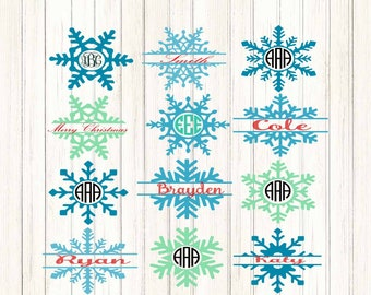Snowflake SVG Monogram Frames Svg Eps Png Dxf,digital download - Silhouette Cricut DS,vector Clip Art graphics Vinyl Cutting Machines