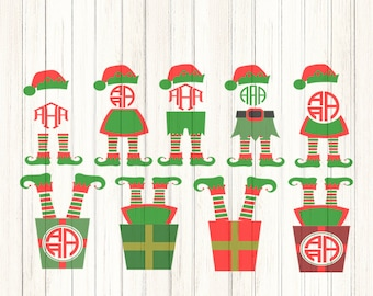 Christmas Elf Legs SVG Monogram Frame Design Digital Clipart Cut File Png SVG Eps Dxf Instant Download Silhouette Cameo Cricut Design Space