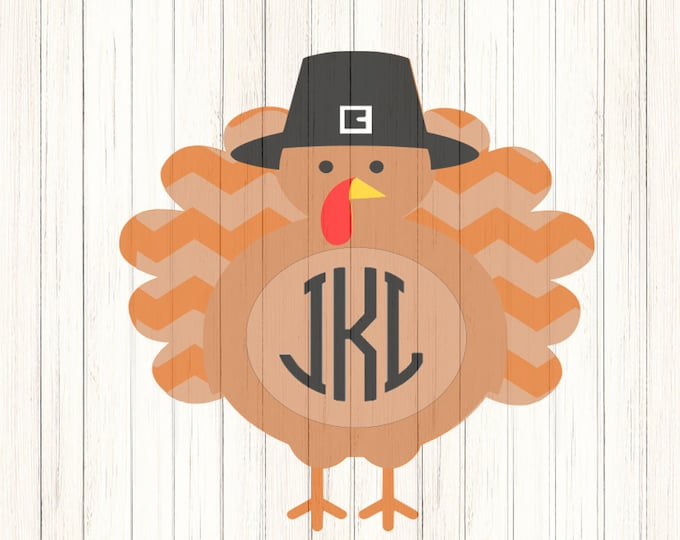 Autumn Turkey SVG, DXF, EPS, Png Round Monogram frame, cutting files for Silhouette Studio and Cricut Design Space. Thanksgiving Turkey