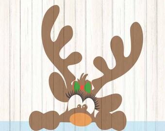 Peeking Girl Christmas Reindeer SVG,EPS Png DXF, Peeping Reindeer digital download files for Silhouette Cricut, vector Clip Art graphics