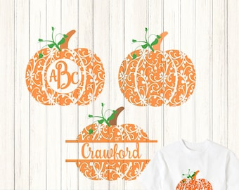 Fall Pumpkin SVG, DXF, EPS Pdf Round monogram Frame cutting files. Floral pattern, for use with Silhouette Cricut. Halloween Thanksgiving