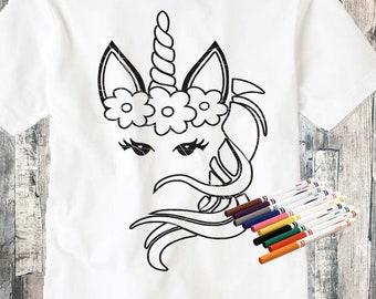 Unicorn coloring svg for shirts, Unicorn coloring page, coloring svg Unicorn face svg,  Clipart Floral Unicorn eyelashes SVG, Eps, Dxf, Png