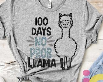Llama svg, 100 days no probllama svg, 100 days of school svg, 100th day of school, Alpaca svg, Teacher, Quote, Cricut, Cut files, DXF, PNG