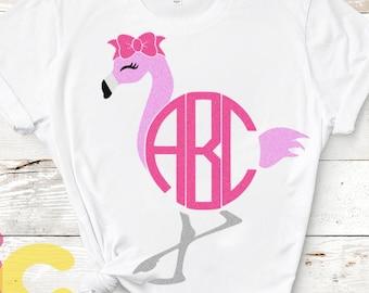 Flamingo Svg Circle Monogram Frame Svg, Summer Svg, Kids svg, Beach SVG, DXF, Eps, Png, Flamingo Shirt Design, girls svg, Cricut, Silhouette