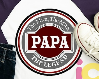 Papa Svg, The Man The Myth The Legend Fathers Day SVG, Father, Daddy SVG, DXF, Eps  Cricut Files, Silhouette Studio, Digital Cut Files