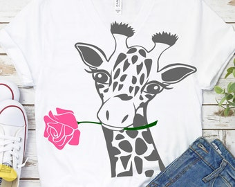 Giraffe Svg, Giraffe Face rose Svg, Flower Fun Giraffe Svg, Safari Svg, Kids Svg, Giraffe Cut Files, Shirt Desgins, Cute, Fun Svg Designs