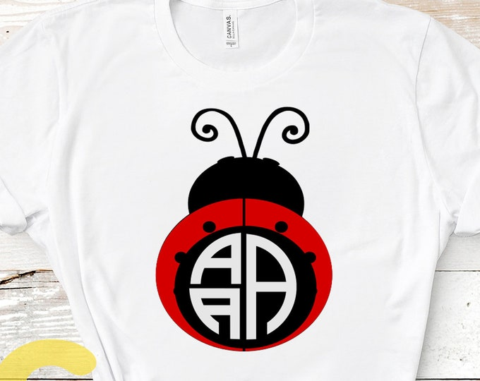 Ladybug SVG, valentine svg, Lady Bug Monogram SVG, Mothers day Svg Summer beetle svg, dxf, ai, eps, png cut files, love bug monogram frame
