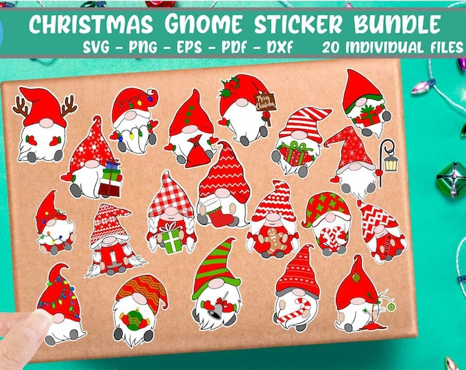 Christmas Gnomes svg Stickers svg Gnome stickers bundle svg Digital cut file Dxf Eps Png Pdf Cut and print files for Circut Silhouette Sub