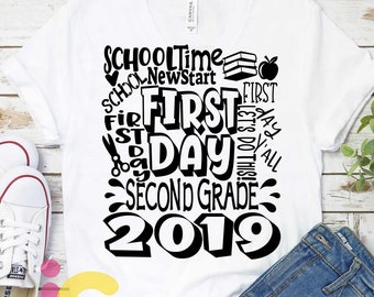 2019 Second Grade svg Back to School SVG First day svg 2nd Grade Typography First Day of School svg, Sublimation Png, Student Eps Dxf