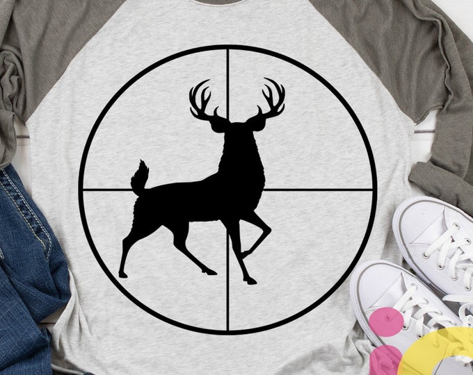 Deer SVG, Buck in Gun sights, Crosshair Cutting File, Fathers Day Dad Hunting Svg, PNG, EPS, Dxf, Cricut, Silhouette, Digital Sublimation