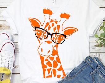 Giraffe Svg, Giraffe glasses Face head Svg, Fun Giraffe Svg, Safari Svg, Kids Svg, Giraffe Cut Files, Shirt Desgins, Cute, Fun Svg Designs