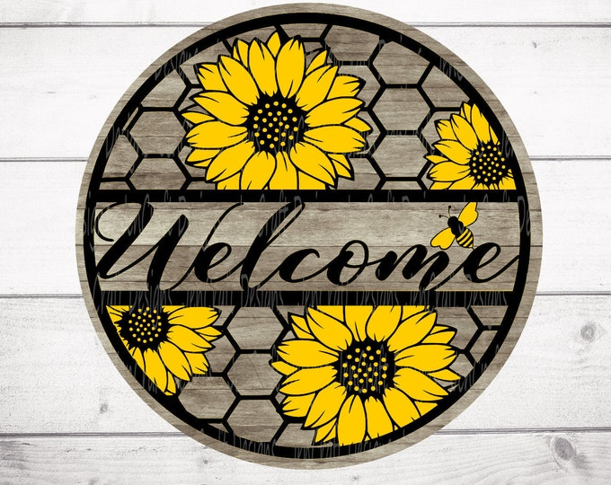 Sunflower Honeycomb Welcome sign, Summer SVG, Rustic decor round wood sign, Cricut, Silhouette, Glowforge Svg Eps, Dxf Png laser cut file