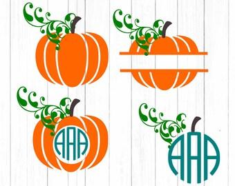 Fall Pumpkin svg Thanksgiving svg Mongoram Frame svg Halloween Autum cut files SVG, DXF, EPS, Png Silhouette Studio and Cricut Design Space.