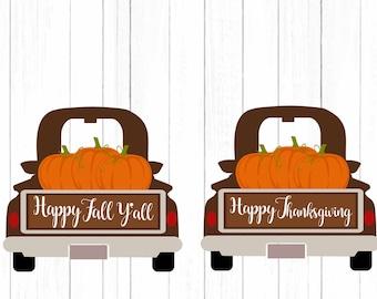 Fall Pumpkin Antique Truck SVG Pumpkin svg Vintage Thanksgiving svg classic truck svg, DXF, pdf, eps, png Silhouette, Cricut Cut Files