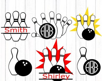 Bowling Svg, Bowling Team Monogram svg, Bowling Pin Bowling Ball Split Svg, Eps, Dxf,studio Png cuttable files, clip art, Cricut, Silhouette