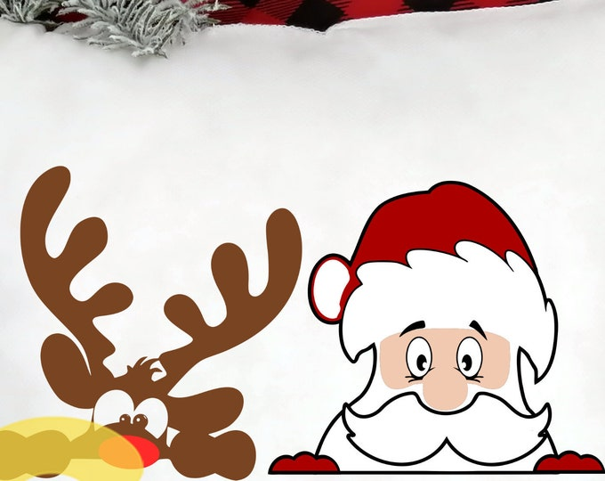 Santa Reindeer SVG EPS Png DXF Peeping Santa, Peeping Reindeer digital download files  Silhouette Cricut,  Vinyl Cutting Machines