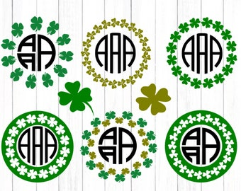 Shamrock SVG St Patrick day svg Monogram Frame SVG St Paddy's Day St. Patrick's Day Leprechaun svg Cut Design,svg dxf png Silhouette Cricut