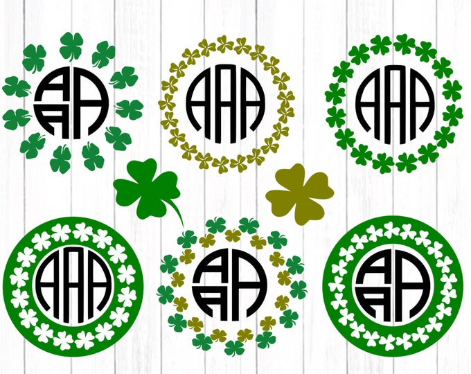 Shamrock SVG St Patrick day svg Monogram Frame SVG St Paddy's Day St. Patrick's Day Leprechaun svg Cut Design,svg dxf png Silhouette Cricut