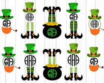 St Patrick day svg, shamrock svg, Leprechaun Legs SVG Monogram Kids Shirt Design, St Paddy's Day, Saint Patricks Monogram Design svg dxf png