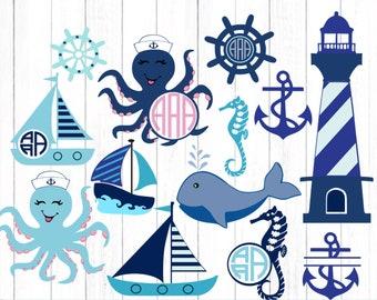 Nautical Anchor SVG, Ocean SVG files, Octopus SVg, Sailboat, Whale svg, Bundle, Svg, Eps, Dxf, Printable Png Cricut, Silhouette Cut Files