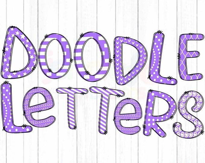 "Purple Doodle Letters Alphabet png, Hand Drawn Alpha Pack Digital Download, Printable School Spirit Kids Cute individual letters Bundle 12"""