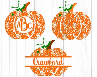 Pattern Fall Pumpkin svg monogram Frame cutting files. Floral pattern, Silhouette and Cricut. SVG, DXF, EPS,Png, Pdf Halloween Thanksgiving