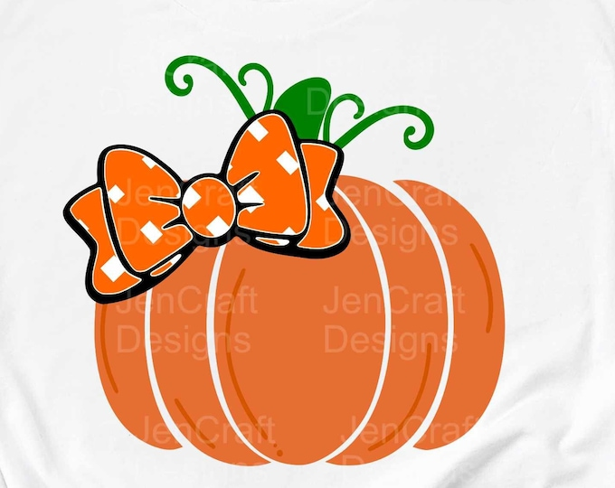 Pumpkin With Bow svg, Thanksgiving Halloween Fall svg baby, girl Design kids saying svg, eps, dxf, png cut file circut silhouette Sublimate