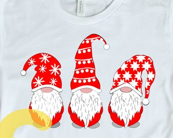 Christmas svg, Gnome trio SVG, PNG, Gnome svg Clipart, cut files, Scandinavian Gnomes Nordic Gnomes Tomte  Svg eps dxf png silhouette Cricut