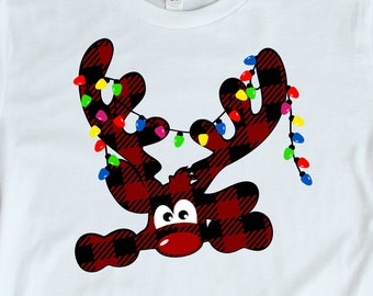 Christmas svg Buffalo Plaid Peeking Reindeer SVG, EPS Png DXF, Peeping Reindeer digital download files Silhouette Cricut, vector Clip Art