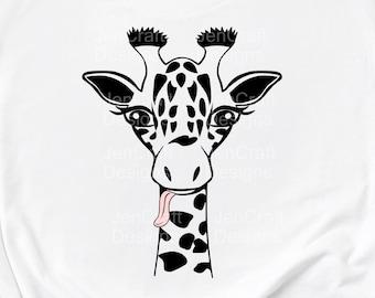 Giraffe Svg, Giraffe Face Svg, Fun Giraffe Svg, Safari Kids Giraffe Tongue Shirt Desgin Cute Fun Svg, Eps, Dxf Png Circut Silhouette Digital