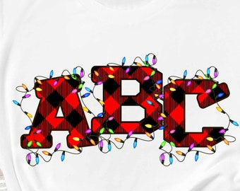 Buffalo Plaid Alphabet Christmas lights Sublimation design. Create your own words alpha pack. printable alphabet, plaid letters PNG file