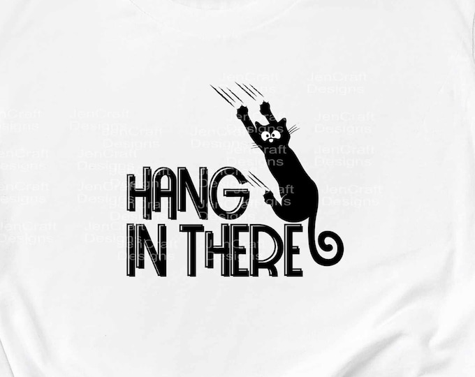 Black Cat svg Hang in there svg, Funny Sliding down Hanging falling cat Digital Design svg eps dxf png Cut File for Cricut & Silhouette