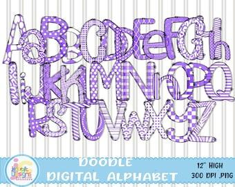 "Doodle Letters Alphabet png, Hand Drawn Alpha Pack Sublimation letters, Purple and White Sublimate Digital Download 12"" Letter Set Png Files"