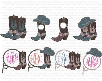 Cowboy Svg, Cowboy Boots Monogram SVG Cowboy Hat Monogram, Country SVG, Country Frame Cowboy SVG,dxf png Cut File Cricut, Silhouette